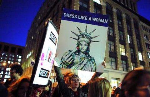 Weltfrauentag in New York. Feindbild Trump. Foto: AFP