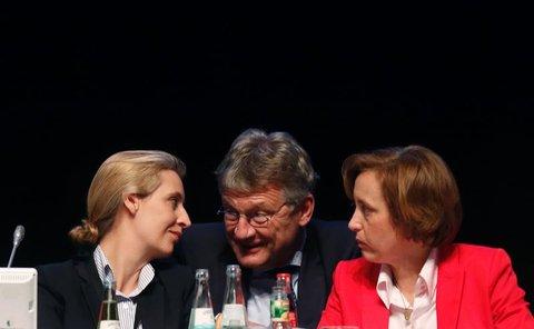 Alice Weidel (L), Jörg Meuthen and Beatrix von Storch (R) / AFP PHOTO / Ina Fassbender