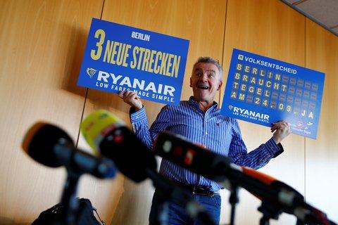 Chief Executiv Michael O'Leary bei einer Pressekonferenz von Ryanair im September in Berlin.
