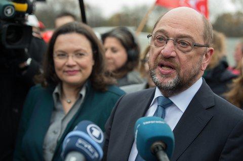 SPD-Chef Martin Schulz bei einem Treffen mit Siemens-Beschäftigten