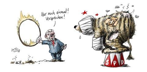 Wie unser Karikaturist Klaus Stuttmann den Zustand der SPD nach den Sondierungsgesprächen sieht. Mehr Karikaturen unter: tagesspiegel.de/karikatur