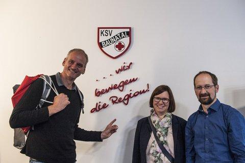 Bei der KSV Baunatal mit SPD-Abgeordneter Manuela und Geschäftsführer Timo