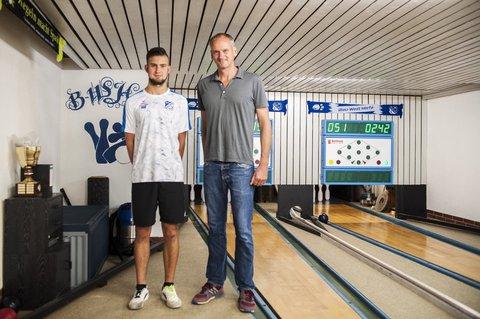 Mit Kegel-Juniorenweltmeister Justin Ehling beim SKV Blau-Weiß Herfa