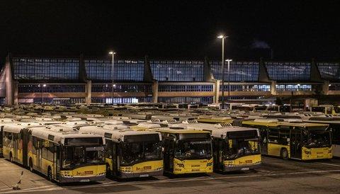 Die Busse der BVG haben den Betriebshof heute nicht verlassen.