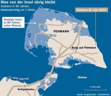 Die Grafik zeigt die mittlere Projektion laut Alfred-Wegener-Institut (AWI) für die nahe Zukunft der beliebten Berliner Urlauberinsel: Demnach sind 80 Zentimeter Meeresanstieg in 80 Jahren realistisch, Sturmfluten können weit über einen Meter auflaufen. Auch 160 Zentimeter seien möglich, wenngleich - bislang - weniger wahrscheinlich.