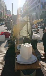 Auch Klimaaktivisten müssen mal: Auf dem Mittelstreifen der Stresemannstraße steht eine mobile Toilette.