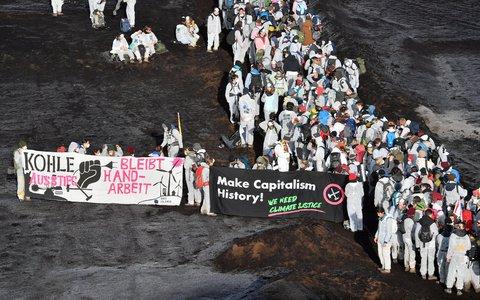 Klima-Aktivisten im Tagebau Vereinigtes Schleenhain südlich von Leipzig