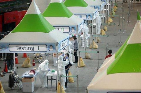 Teststation am Flughafen von Incheon
