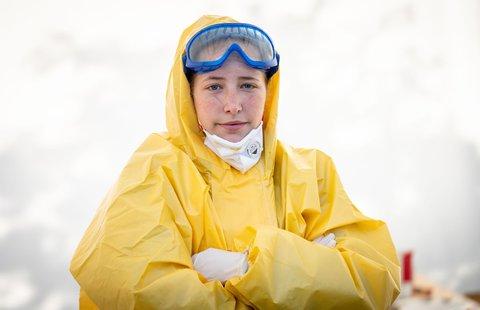 Medizinstudentin Nina Leimer im Einsatz in Lübars.