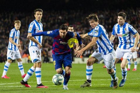 Bereit zum Durchstarten: Für Lionel Messi (Mitte) und den FC Barcelona geht es in der spanischen Liga demnächst weiter.