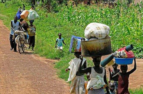 Flüchtlinge aus dem Südsudan in Uganda.