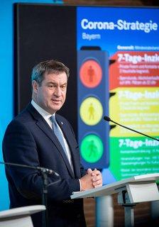 Der bayerische Ministerpräsident Markus Söder (CSU) bei der Vorstellung der Corona-Ampel.