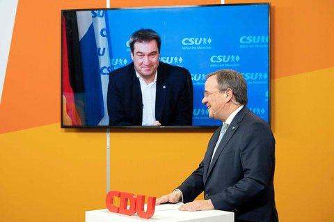 Markus Söder (links) und Armin Laschet beim digitalen Neujahrsempfang der NRW-CDU.