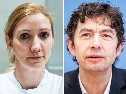 Die Frankfurter Virologin SandraCiesek und ihr Berliner  KollegeChristian  Drosten