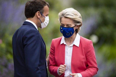Leyen und Macron: Brüssel billigtfür Frankreich eine EU-Finanzierung in Höhe von 39,4 Milliarden Euro.