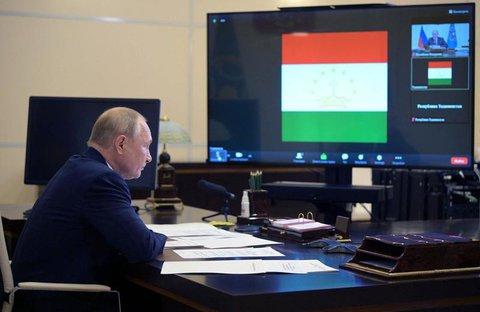 Russlands Präsident Wladimir Putin nimmt am 16. September 2021 per Videokonferenz in der Staatsresidenz Novo-Ogarjow außerhalb von Moskau an einem Treffen der Organisation des Vertrags über kollektive Sicherheit (OVKS) teil.