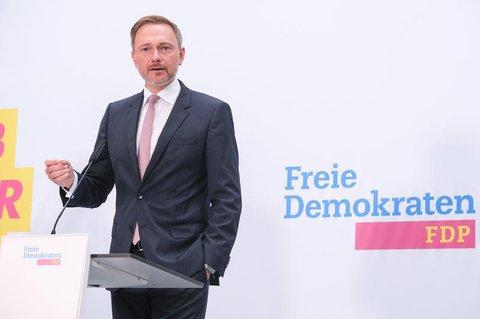 Christian Lindner bei der PK zur Vorstellung des Wahlaufruf der Freien Demokraten im Hans-Dietrich Genscher Haus.