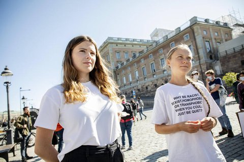 Luisa Neubauer (l.) und Greta Thunberg bei einer Demo in der schwedischen Hauptstadt Stockholm im August.